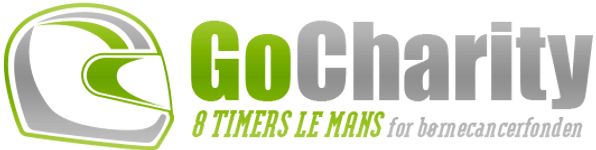GoCharity logo, 8 timers Le Mans for børnecancerfonden